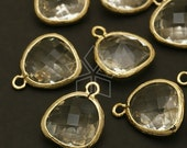 PD-515-GD / 2 Pcs - Glass Fancy Stone (Crystal) Pendant, Gold Plated over Brass Frame / 13mm x 16mm