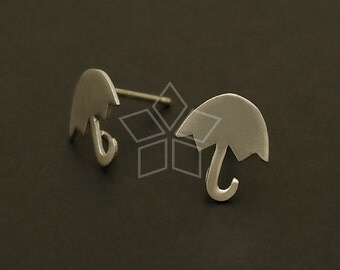 SI-517-MS / 2 Pcs - Small Umbrella Earrings, Matte Silver Plated, with .925 Sterling Silver Post / 8.7mm x 9.7mm