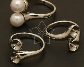 RR-010-OR / 2 Pcs - Double Pearl Cups Ring Base (Adjustable), Silver Plated over Brass / Free Size