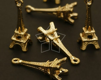 PD-532-GD / 4 Pcs - Eiffel Tower Charms, Gold Plated over Pewter / 8mm x 24mm