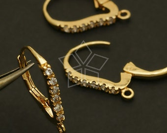EA-107-GD / 2 Pcs - Cubic One-Touch Dop Earring Findings, Gold Plated over Brass / 12.8mm x 18mm