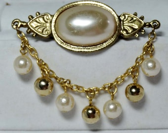 Faux Pearl with Brass Beads and Chain Brooch Apparel & Accessories Jewelry Vintage Jewelry Brooch