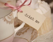 Drink Me Teacup Tags - cream with dusky pink ribbon - set of 10