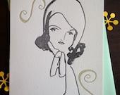 Fancy Lady Illustrated Series No. 4 - Hello Lisa Letterpress Blank Card