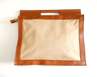 Vintage 1970s Tan Canvas Leather Business File Purse Handbag