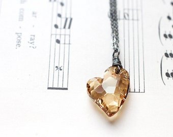 Gold Crystal Heart Necklace, Golden Swarovski Oxidized Sterling Silver for Valentine, Heart Jewelry - Champagne