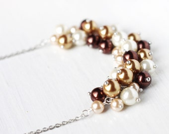 Fall Wedding Bridesmaids Jewelry Pearl Cluster Necklace in Shades of Brown, Gold and White, Earth Tones, Autumn - Chocolate Latte
