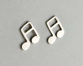Double Eighth Note Sterling Silver Post Earrings