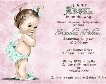 Girl Baby Shower Invitation For Girl - Angel -  Pink and Mint Green - DIY Printable