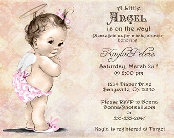 Vintage Baby Shower Invitation For Girl - Angel -  Pink - FREE SHIPPING or DIY Printable