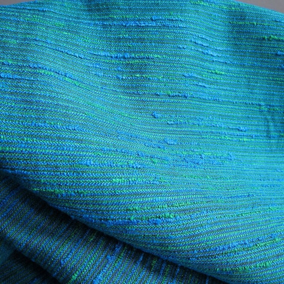 Vintage Blue Green Upholstery Fabric 12 Yards Textured Boucle Mid ...