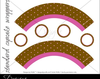 "Printable ""Dots-a-Plenty"" Designer Cupcake Wrappers"
