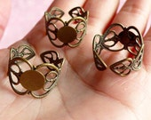Ring Base Findings with 9mm Pad (5 pcs / Bronze / Heart) Adjustable Filigree Ring Blank Jewellery Findings Jewelry Ring Making Supplies F018