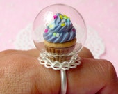 Glass Globe Ring / Clear Glass Bottle / Glass Bubble (24mm) with Silver Lace Adjustable Ring (1 Set) Miniature Terrarium Glass Dome F047