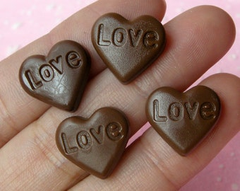 Chocolate Heart Cabochons w/ Love (4pcs / 15mm x 14mm) Kawaii Dollhouse Sweets Miniature Cupcake Topper Fake Toppings Food Jewellery FCAB047