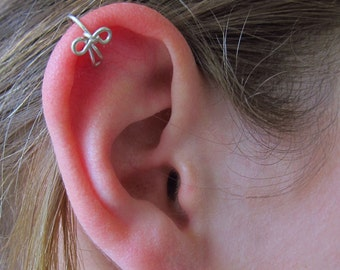 Tiny Bow Ear Cuff Sterling Helix Upper Cartilage Earcuff