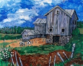"""Landscape Painting Print of Original Oil Painting, Barn Art, Countryscape, Large 11X14 , Farm ,""""Headquarters"""" Wall Art by P. Flecklenstein"""