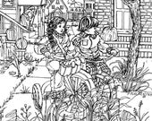 """COLORING PAGE Instant Print , Little Friends,Pen Drawing, Kids Playing,Riding Bikes,""""A Picturebook To Color"""" for Adults,Teens,Children"""