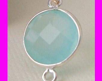 2pcs 17mm x 11mm 2 loops Seafoam Aqua Chalcedony Bezel gemstone connector 925 sterling silver