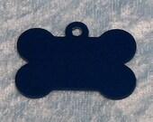 Bone shaped dog tag, blue anodized aluminum, FREE custom engraving