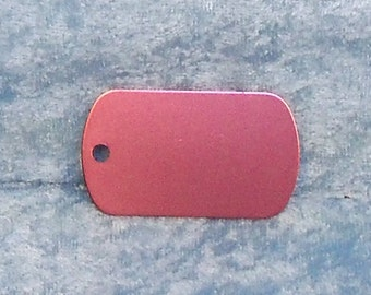 Tag, pink anodized aluminum, military style, FREE custom engraving