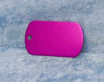 Tag, purple anodized aluminum, military style, FREE custom engraving