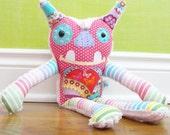 Stuffed Monster Pillow - Alien Stuffed Friend - Plush Stuffed Animal - Tooth fairy Pillow - Bright Pink