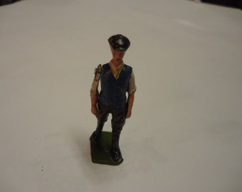 """Vintage lead figurine with movable arm, collectable, approx 2 1/4"""" tall, painted"""
