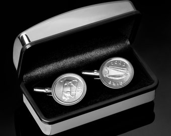 47th Birthday Gift -  1970 Lucky Irish Gift - Irish Five pence Cufflinks - In presentation box - 100% satisfaction