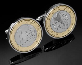 9th Anniversary Gift - 2008 Irish Gift - Irish 1 Euro Coin Cufflinks - Includes presentation box - 100% satisfaction