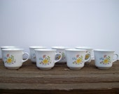 Vintage Corelle  by Corning set of Eight Meadow Pattern Mugs
