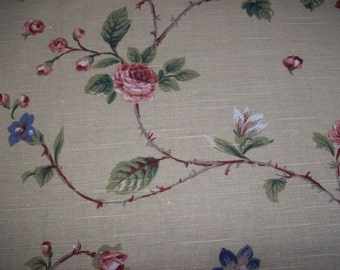 SALE: Stout Brothers John Wolf Design Floral Screenprinted Decorator Fabric