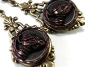Strawberry Vintage Button Earrings - Victorian Button Jewelry - Edwardian Style - Burgundy Plum Magenta