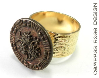Victorian Button Ring, Antique Button, Copper Bronze Blossom, Vintage Button Jewelry, Gold Plate Etched Band