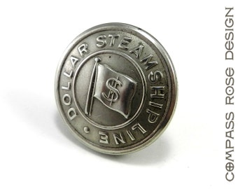 Men's Accessory Railroad Industrial Lapel Pin or Tie Tack - Historical Dollar Steamship Line Uniform Button - Silver Button