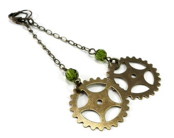 Gear Earrings - Steampunk Sprocket Long Dangle Gear Earrings with Olive Green Accent handmade by Compass Rose Design