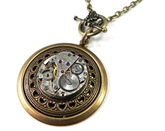 Steampunk Necklace - Clockwork Steampunk Necklace - Mechanical Watch Pendant Brass, Steampunk Jewelry by compassrosedesign