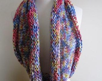 CLEARANCE Cowl Rainbow Knit Long Scarf Variegated Pastel Spring Hypoallergenic Infinity - Size Medium