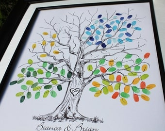 Wedding tree guest book alternative wedding tree guestbook poster fingerprint tree thumbprints wedding tree guest book hand drawn tree print