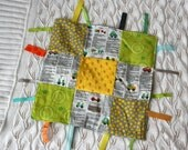 Ribbon Blankie- Cars and Trucks, gray, yellow, red