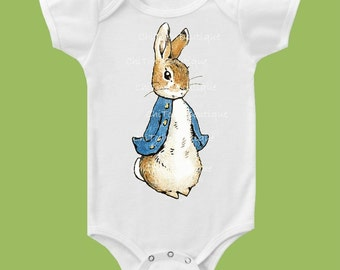 Peter Rabbit, Classic One Piece Baby, baby girls clothes, baby boys clothes, Peter Rabbit baby shower, baby T-Shirt by ChiTownBoutique.etsy