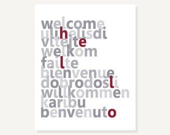 Welcome Art Print Gray Red Poster Wall Decor Modern Typographic Artwork Housewarming Gift in Many Languages