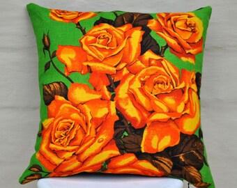 ROSES Vintage Irish  Linen Tea Towel Cushion Upcycled Repurposed Spring Flowers Pillow Cushion