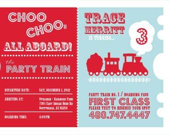 Choo Choo Train Ticket Birthday Invitations