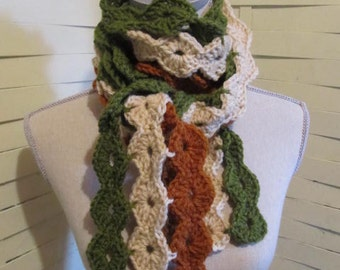 Circles of Fun Scarf...Neckwarmer...Crocheted Striped Scarf....Woodland Earth Tones
