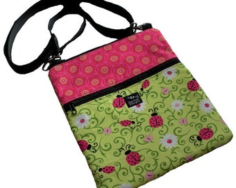 Ladybugs Daisies Flowers Fabric iPad Kindle Nook  E Reader Passport Travel Messenger Bag Sling Washable