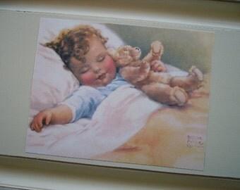 Shabby Nursery, Baby sleeping, Bessie Pease print, recycled door art