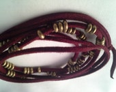 Red Leather Lariat with Brass Beads