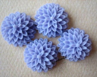 4PCS - Lilac - Chrysanthemum Cabochons - 15mm - Matte Finish - Jewelry Findings by ZARDENIA