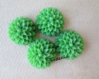 4PCS - Pea Green - Resin - Chrysanthemum Cabochons - 15mm
